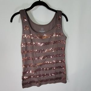 Old navy brown sequined syripped tank top Sz L